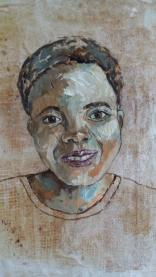 Portrait done on tissue paper and gauze - AVAILABLE